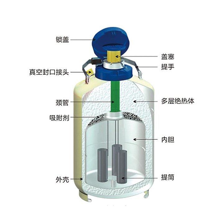 金凤  液氮型液氮生物容器 YDS-6L产品结构