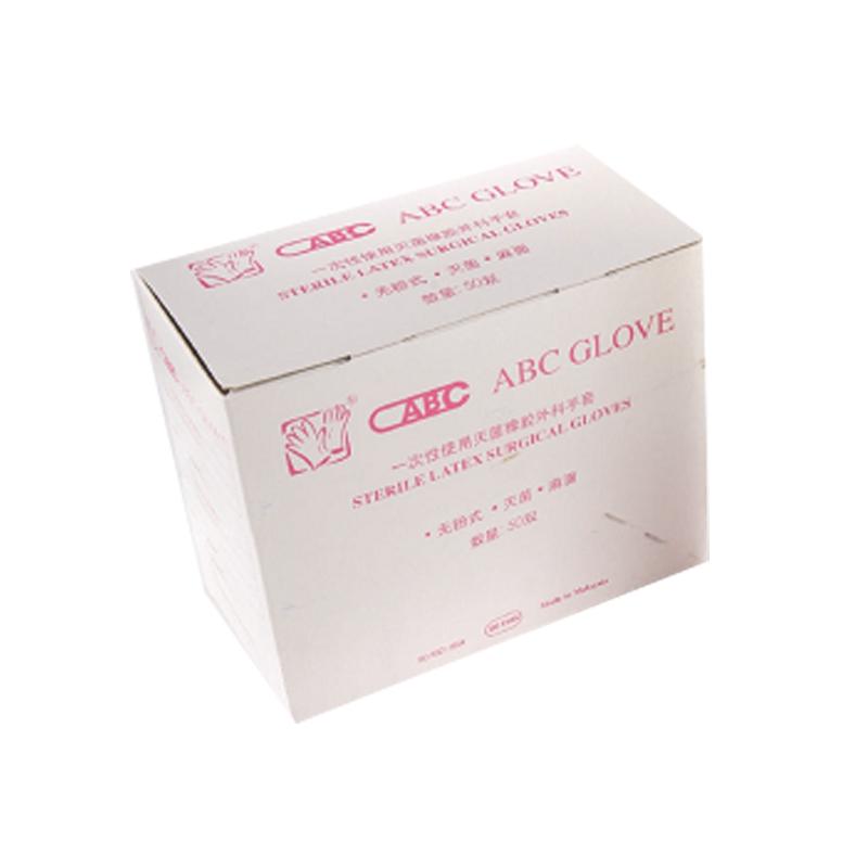 ABC 一次性使用灭菌橡胶外科手套 6.5# 无粉 麻面 (50副/盒,8盒/箱)