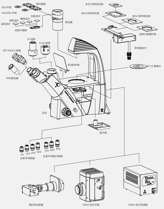奥特 倒置生物显微镜BDS400产品结构